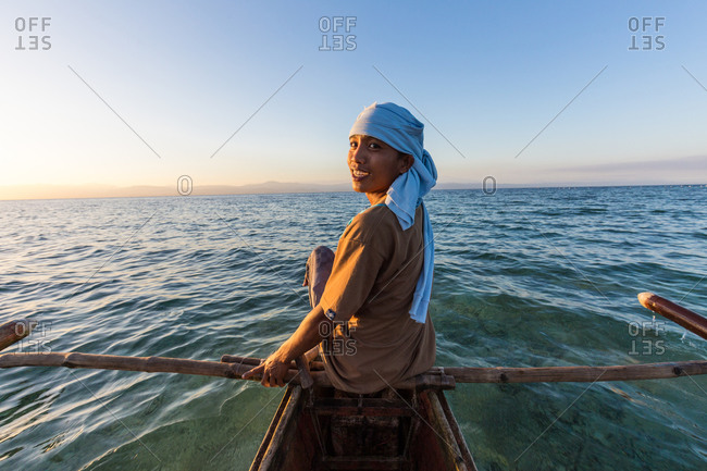 Ronda, Philippines - January 5, 2016: Portrait of young fisherman in his paraw