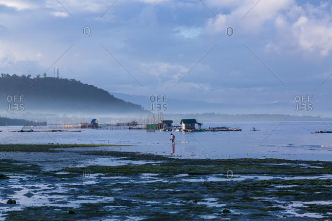 Man walking in water near fish farm in Philippines