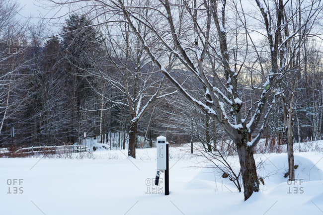 Payphone in a snowy field in New Hampshire