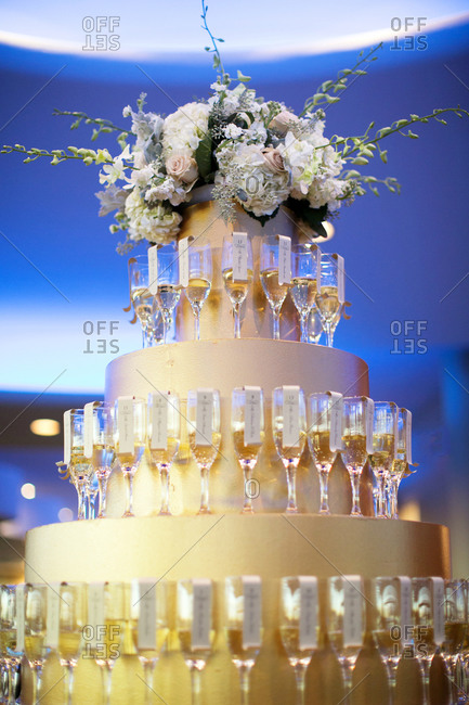 Name card display with champagne glasses