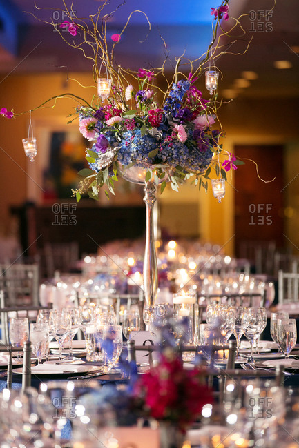 Colorful centerpiece at a wedding reception table