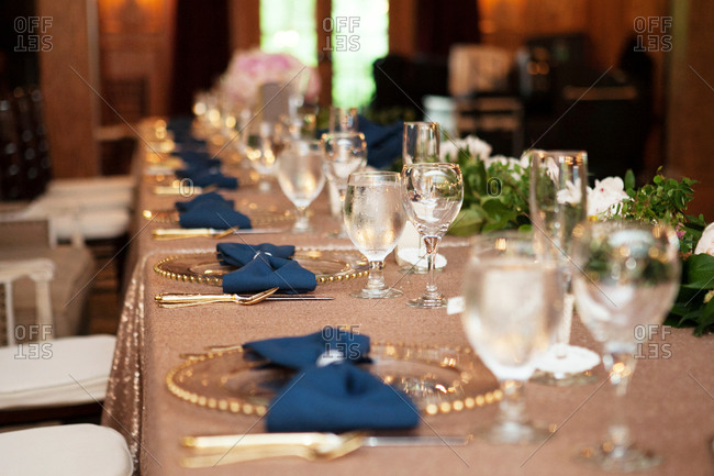 Banquet table at a wedding