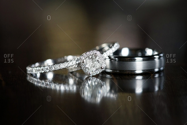 Close-up of a pair of wedding rings