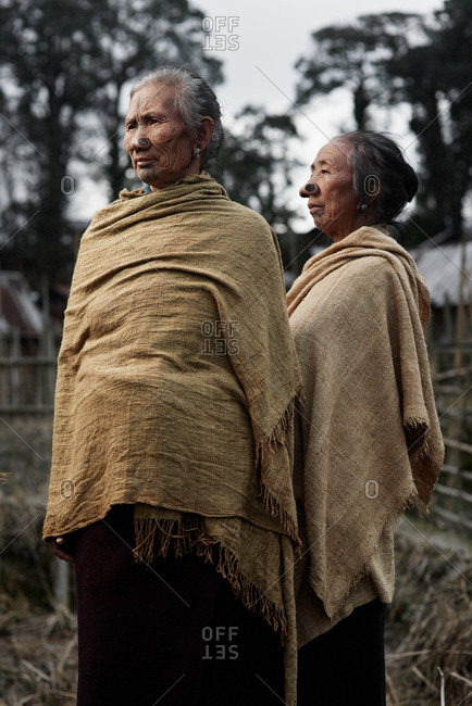 Arunachal pradesh, India - February 1, 2016: Two Apatani women standing together outside