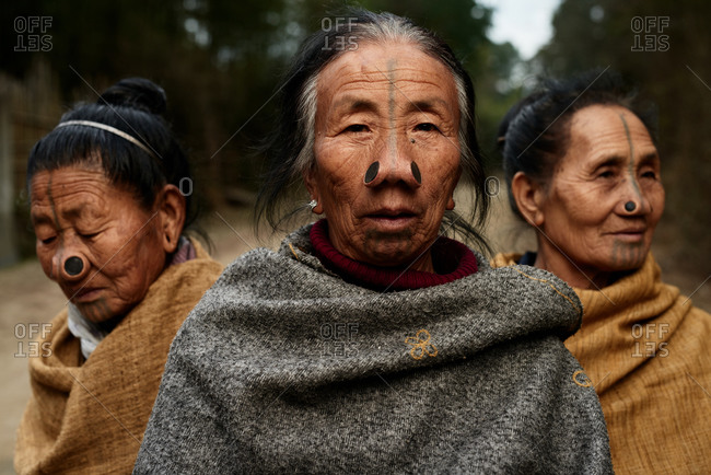 Arunachal pradesh, India - January 30, 2016: Portrait of a group of Apatani women with traditional bamboo discs in their noses