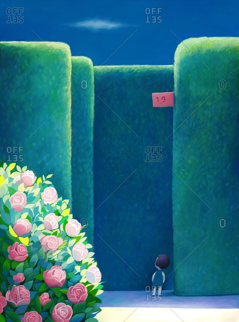 An illustration of a little girl wearing a blue dress standing in front of entrance number 19 to a green labyrinth