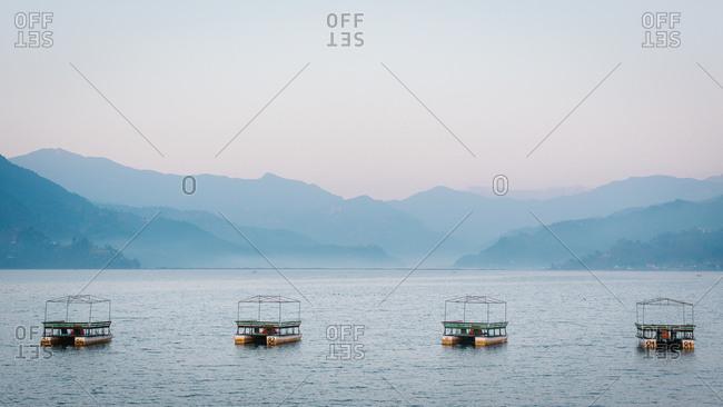 Pontoon boats on lake, Pohkara, Nepal