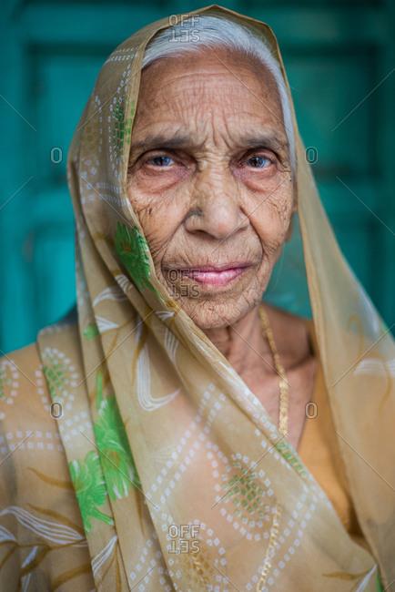 Jodhpur, India - March 27, 2014: Portrait of a woman in Jodhpur, India