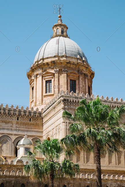 Palm trees and dome of Palermo Cathedral, Italy