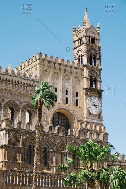 Clock tower on Palermo Cathedral, Italy