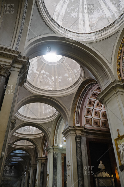 Palermo, Italy - August 16, 2015: Cupolas inside Palermo Cathedral, Italy