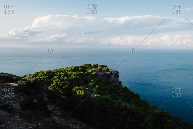 Rocky cliff above the sea in Italy