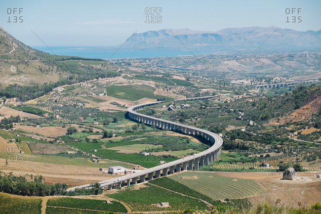 Highway running through the countryside in Sicily