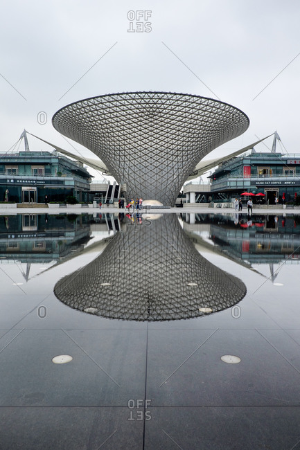 Shanghai, China - November 13, 2015: Funnel shaped building in Shanghai, China