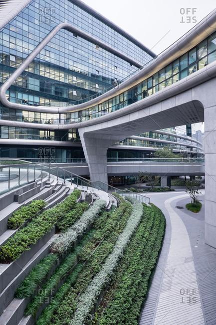 Shanghai, China - November 13, 2015: Pedestrian bridge of a modern building in Shanghai, China