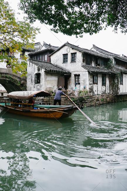 Zhouzhuang, China - December 1, 2015: Boat tour of canal homes on Zhouzhuang, China