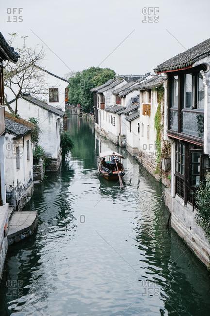 ZhouZhuang, China - December 1, 2015: Water taxi in canal, Zhouzhuang, China