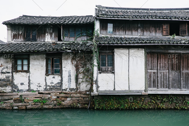 Buildings along canal in China