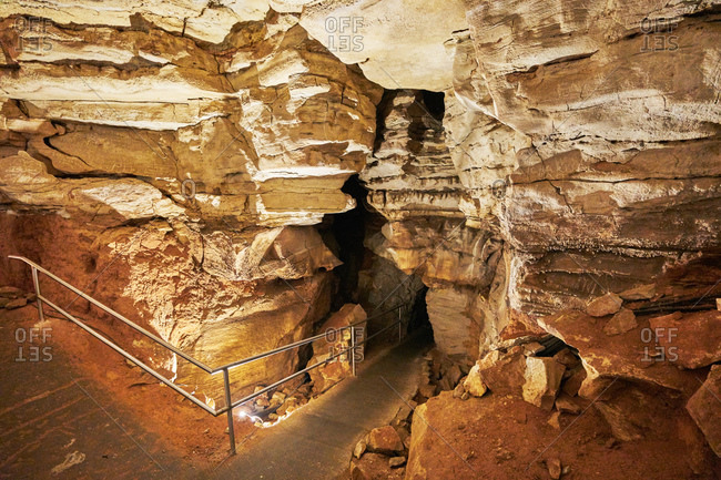 Rock formations inside Mammoth Cave in Kentucky