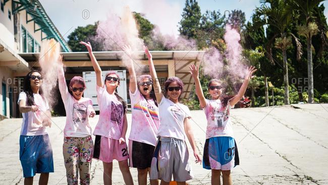 June 26, 2015: Young women throwing powder