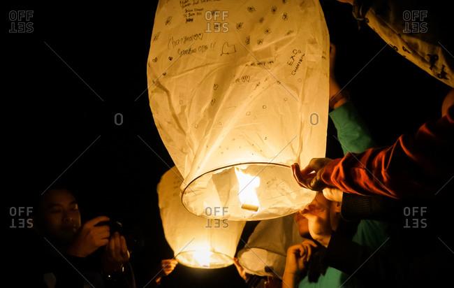 June 26, 2015: Lighting a sky lantern