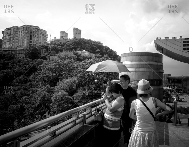 August 4, 2014: People on a mountain terrace