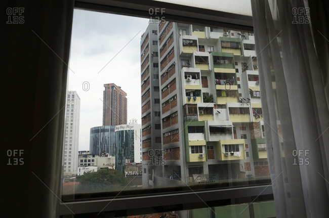 April 24, 2015: City view out a window