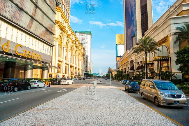 August 3, 2014: Street in Macau, China