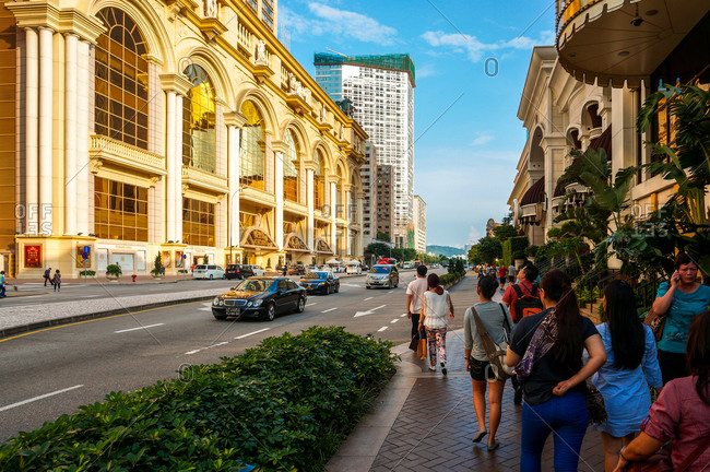 August 3, 2014: People in street, Macau, China