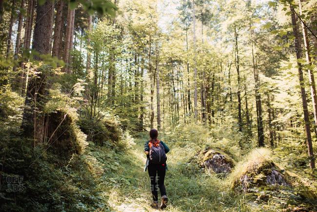 Woman hiking up a mountain