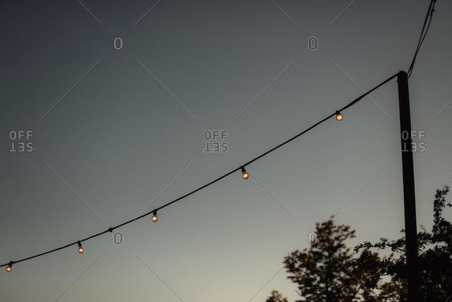 Lights strung from a pole
