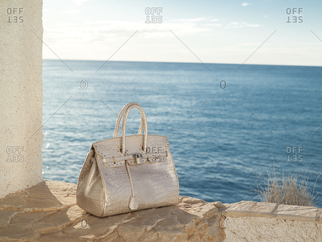 Alligator leather handbag with the sea in the background