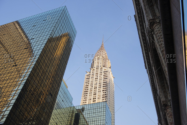 New York City, NY, USA - October 5, 2012: Low angle view of the Chrysler Building, New York City, NY