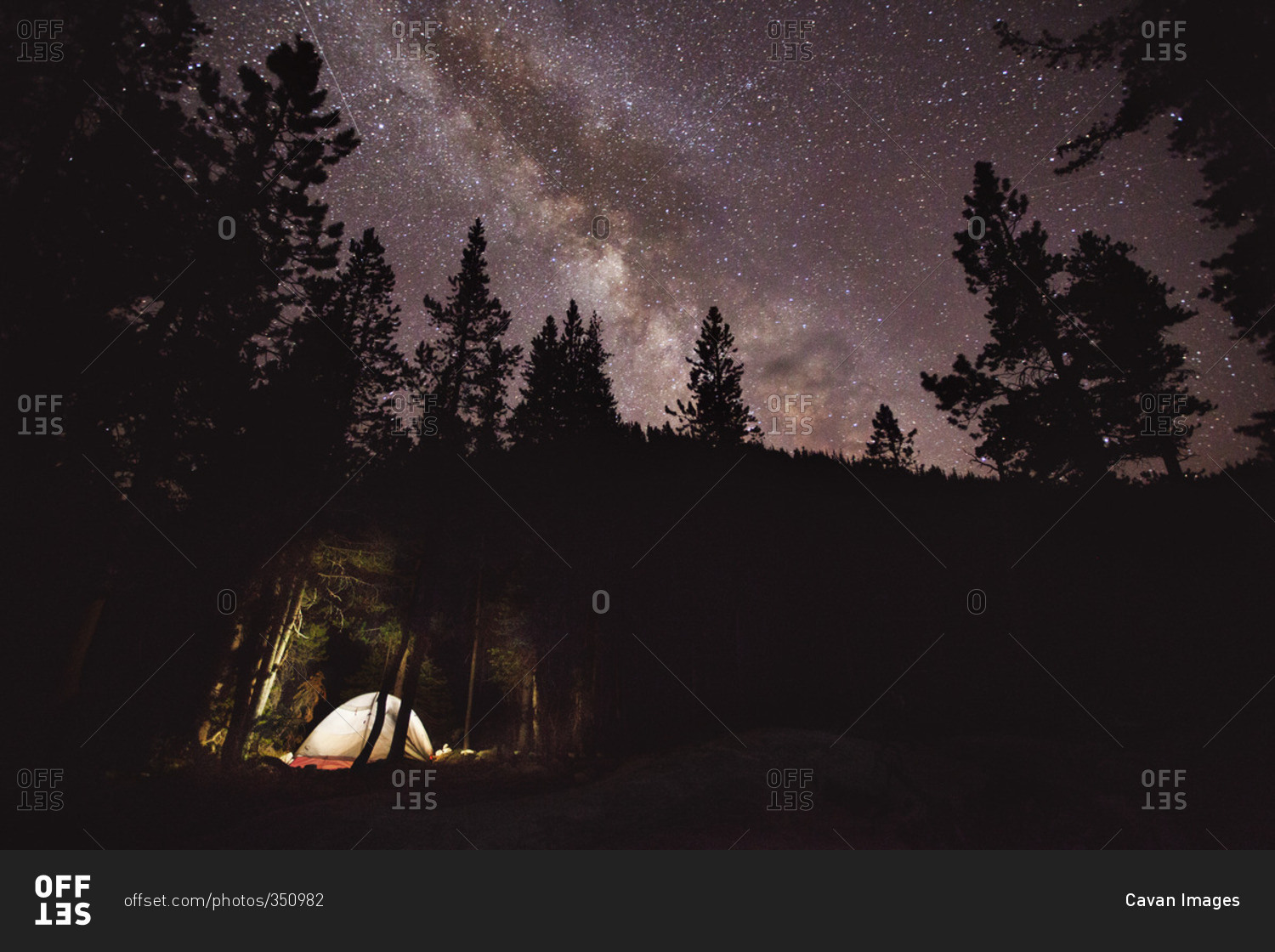 camping in the woods at night. Tent Camping In The Woods Under A Starry Sky At Night