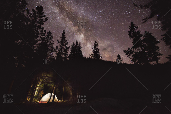 Tent Camping In The Woods Under A Starry Sky
