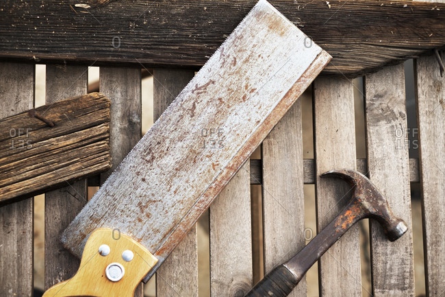 Tools and pieces of wood