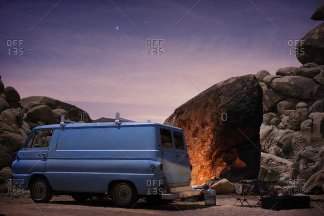 Joshua Tree, CA, USA - March 19, 2016: Vintage van at desert campsite