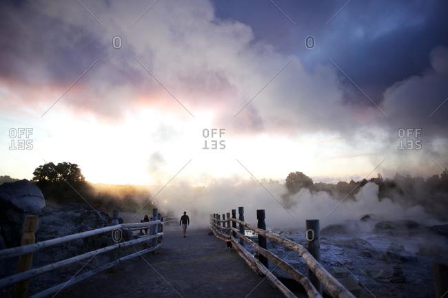 Thermal baths at dusk New Zealand