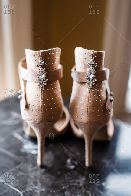 Jeweled high heel shoes