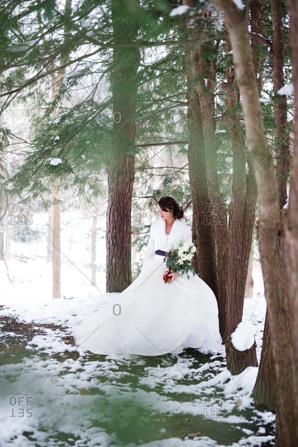 Bride in snowy woods