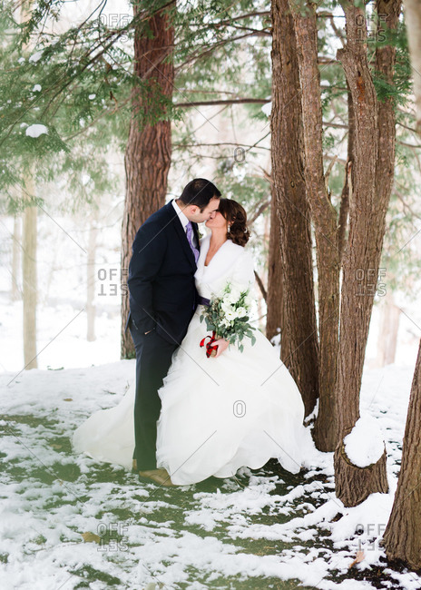 Bridal couple in snowy woods
