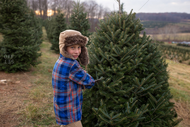 Boy wearing a fur hat picking out a Christmas tree
