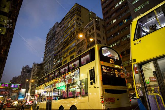 September 14, 2015: Bus traveling along Nathan Road, Hong Kong
