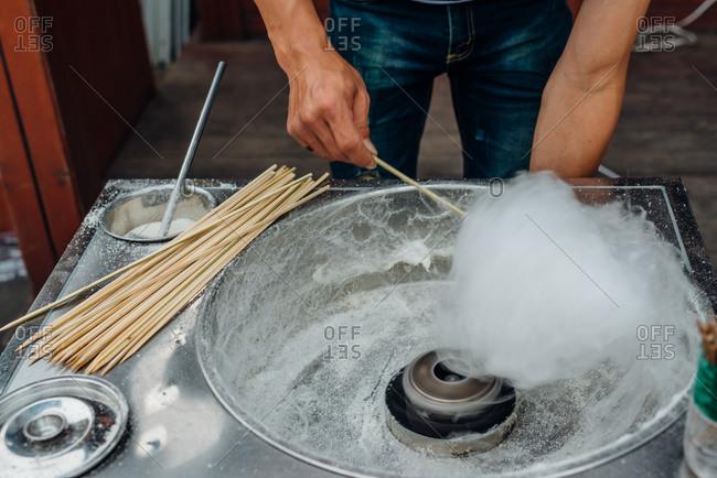 Spinning cotton candy in Guangzhou, China