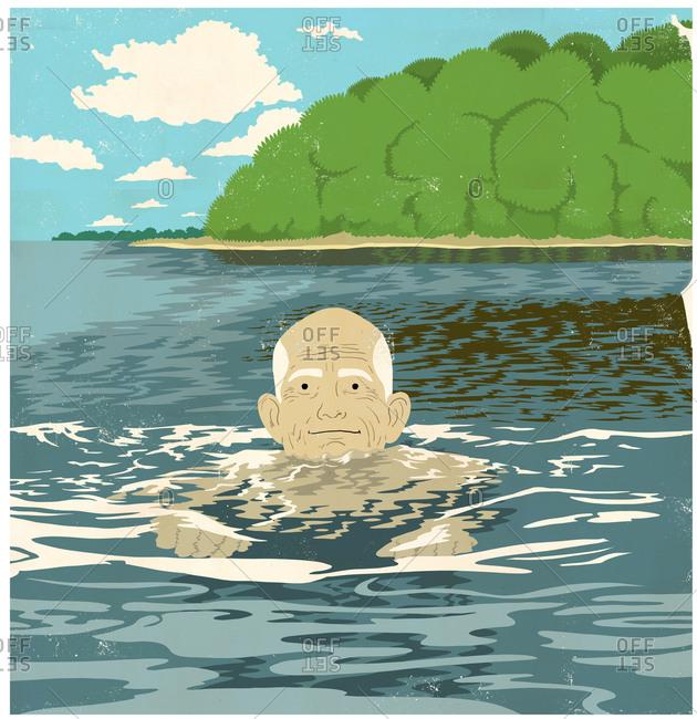 Older man treading water