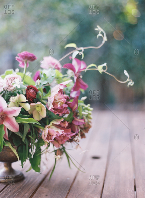 Flower arrangement on a wooden table