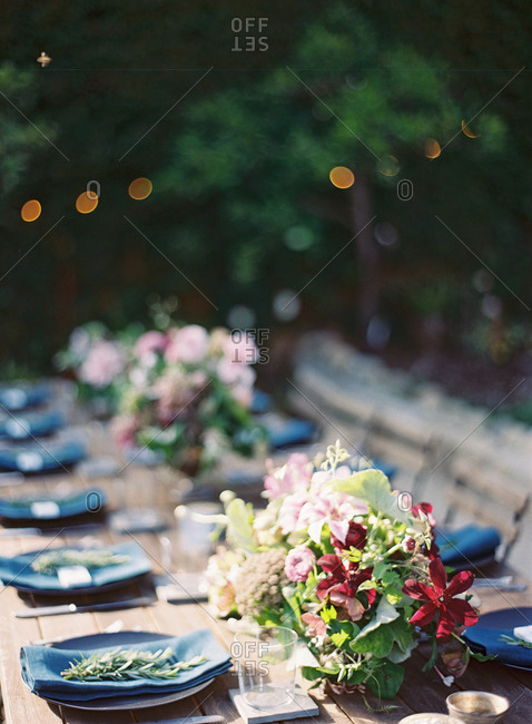 Rustic table arrangement for a dinner party