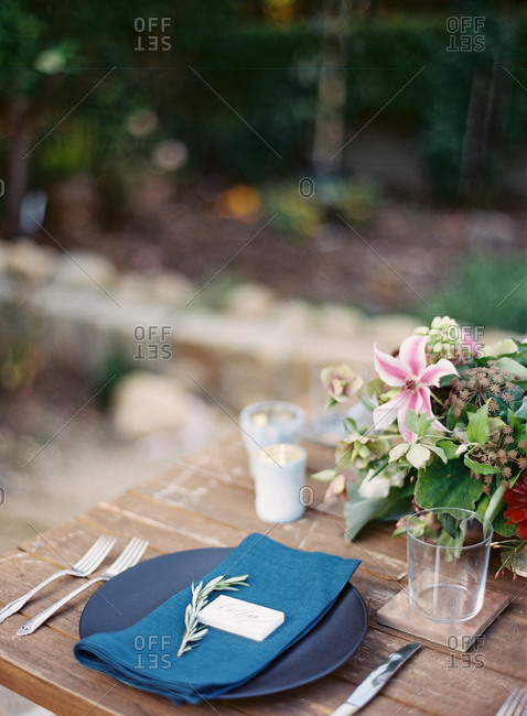 Place setting for a al fresco evening party