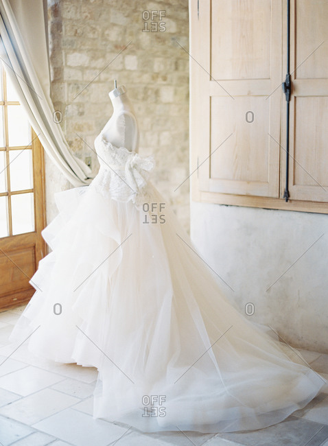 Wedding gown on a dress form