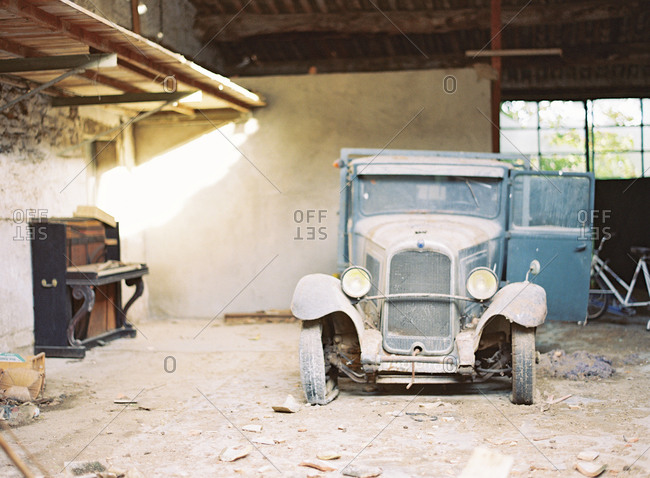 Provence, France - March 25, 2016: Abandon vintage automobile in Ansouis, France